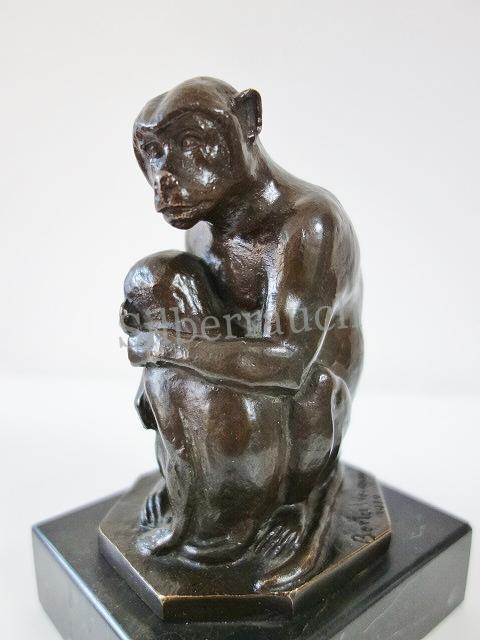 Tierfigur Bronze Affenmutter