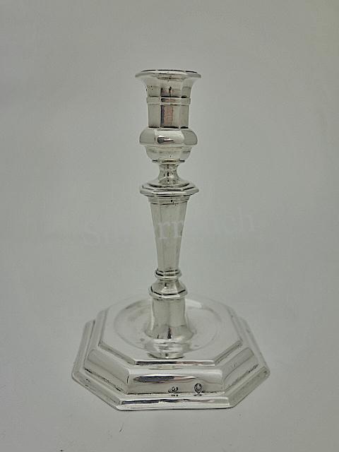 Kleiner Barock Silber Leuchter aus Augsburg, frühes 18. Jahrhundert
