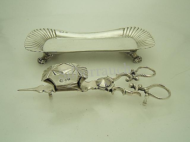 Biedermeier Silber Lichtputzschere auf Tablett, Berlin, 19 Jahrhundert