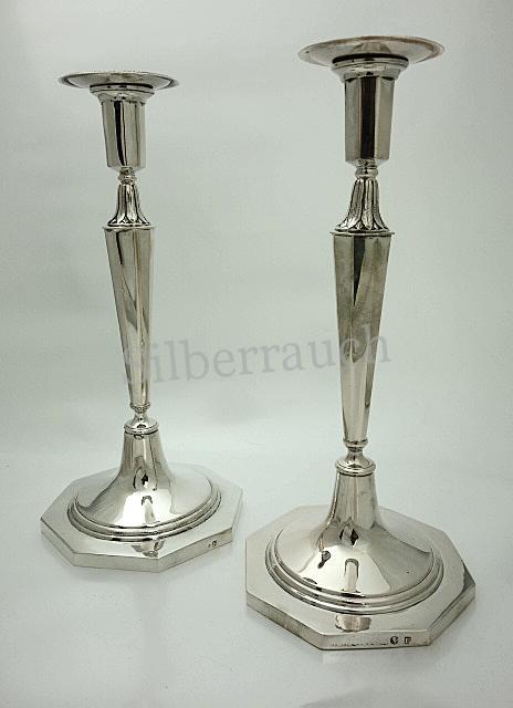 Paar vornehme Empire Silberleuchter aus Berlin, um 1800