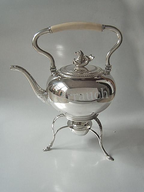 Silber Biedermeier Teekessel auf Rechaud. Berlin frühes 19 Jahrhundert