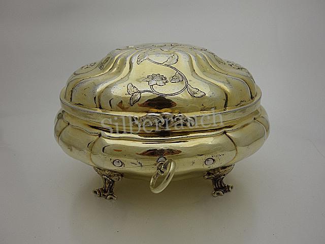 Große vollvergoldete Rokoko Silber Dose aus Breslau
