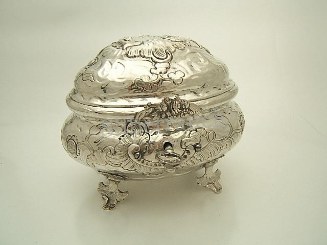 Rokoko Silber Zuckerdose aus Breslau, 18. Jahrhundert