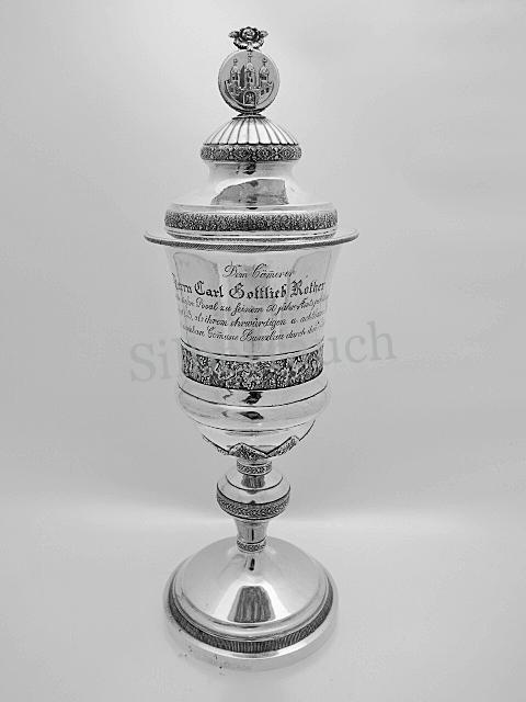 Biedermeier Pokal mit Widmung der Stadt Bunzlau