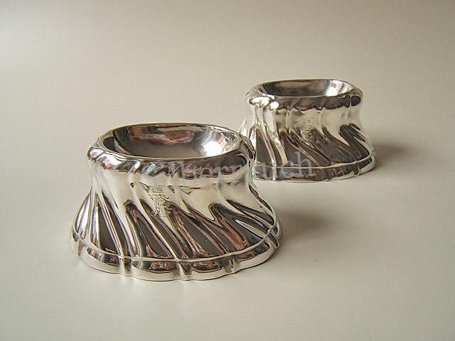 Paar Silber Salz/Gewürzschalen aus Dresden im Rokokostil