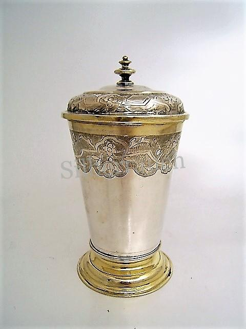 Barocker Silber Deckelbecher 18 Jahrhundert aus Dresden