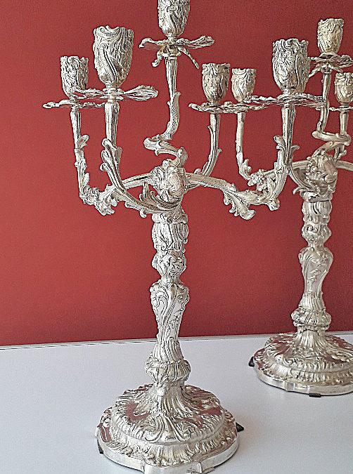Paar dekorative Silber Girandolen aus Dresden, Hofgoldschmiede, Anfang 20. Jahrhundert
