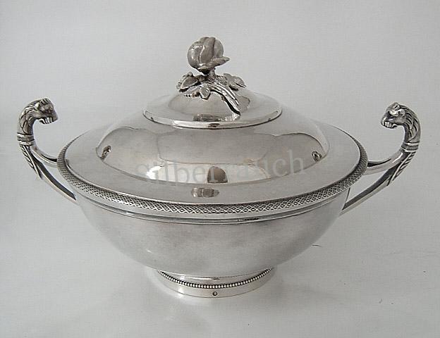 Feine Empire Silber Deckelschale aus Paris
