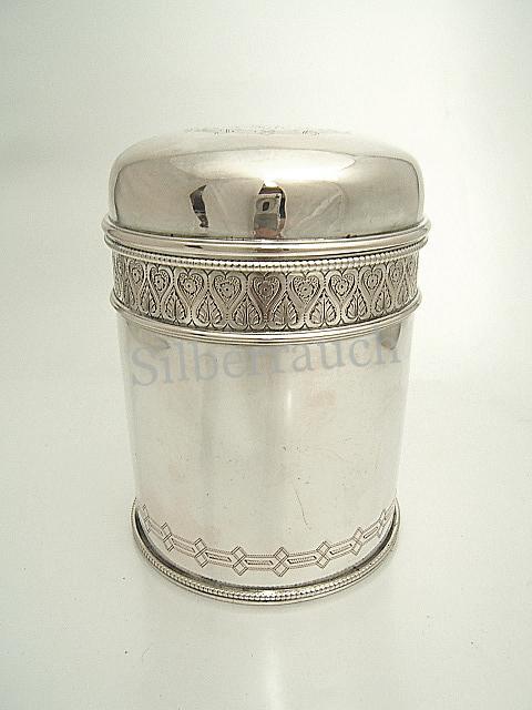 Große Biedermeier Teedose aus Silber, Hamburg