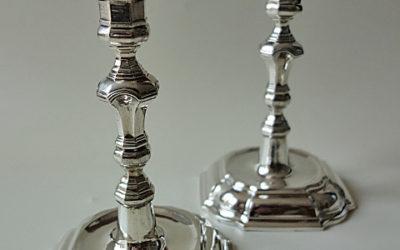 Paar seltene barocke Silber Kerzenleuchter aus Hildesheim, 18 Jahrhundert