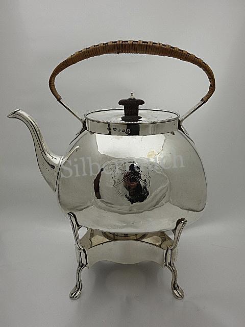 Großer 925 Sterling Silber Teekessel auf Rechaud, London 18 Jh