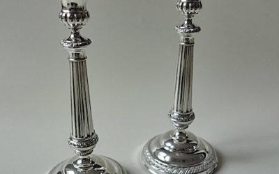 Paar Biedermeier Silber Kerzenleuchter aus Mailand, 19. Jahrhundert
