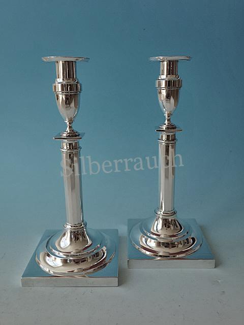 Paar feine Empire Klassizismus Silber Leuchter aus München