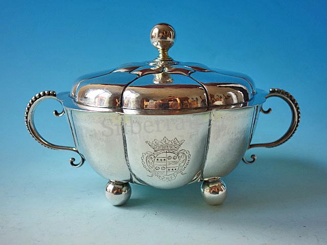 Bedeutende barocke Silber Deckelschale aus Münster