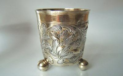 Barock Silber Kugelfußbecher aus Nürnberg 17 Jahrhundert