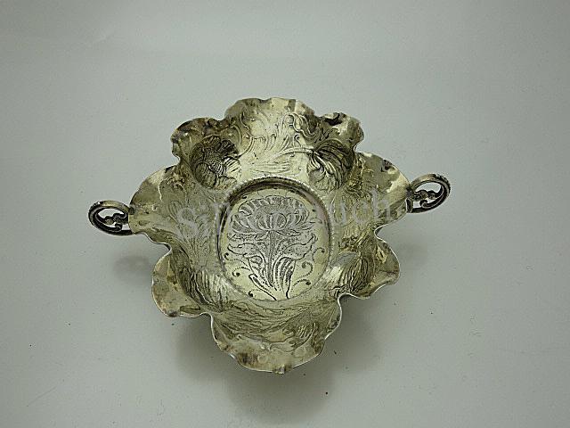 Seltene barocke Silber Branntweinschale aus Nürnberg, 17. Jahrhundert