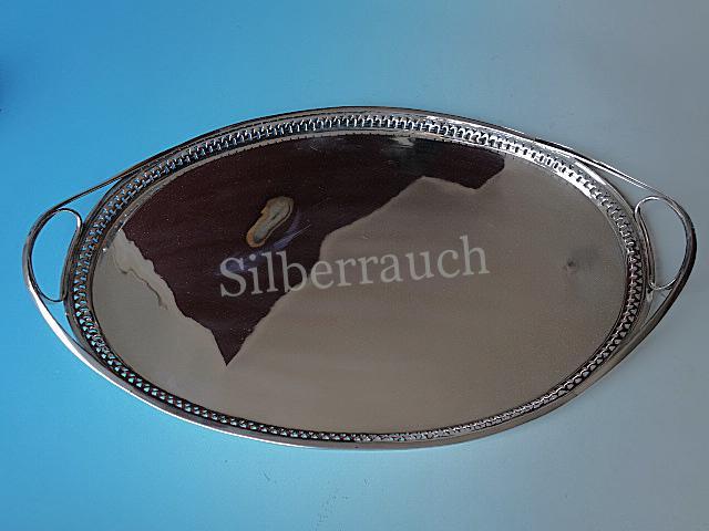 Großes Empire Silber Tablett aus Sachsen, frühes 19. Jahrhundert