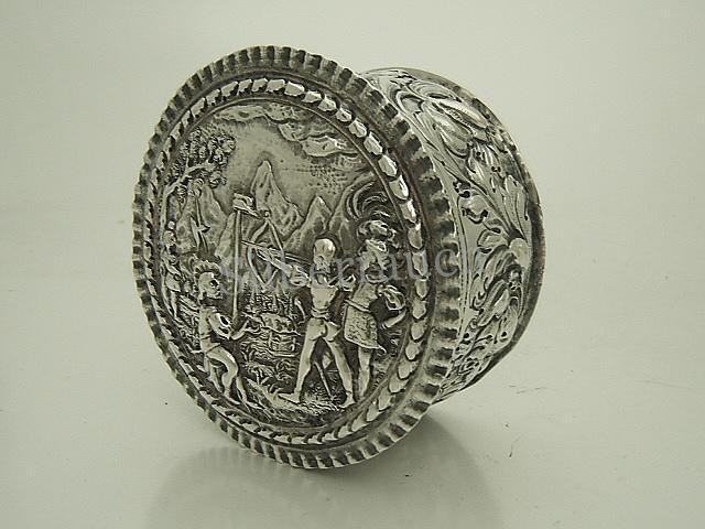 Barocke Silber Deckeldose Schweiz, 17 Jahrhundert, Tells Apfelschuss