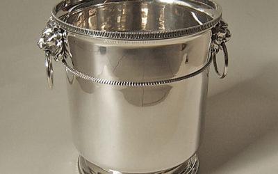 Großer Sektkühler/Flaschenkühler im Empirestil aus 925 Silber