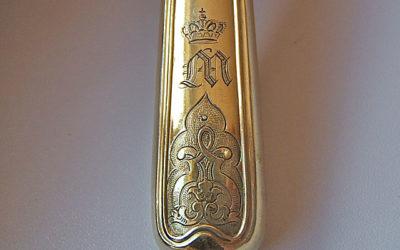 Silber vergoldete Besteckgarnitur aus königlichem Hause