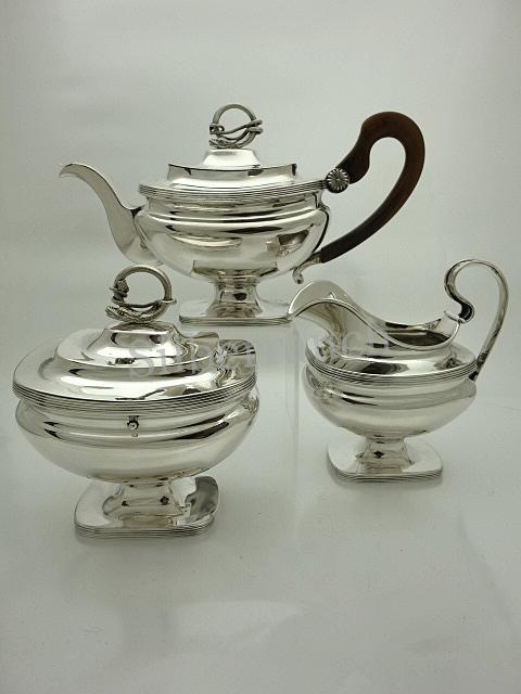 3 teiliges Biedermeier Silber Teeservice aus Amsterdam