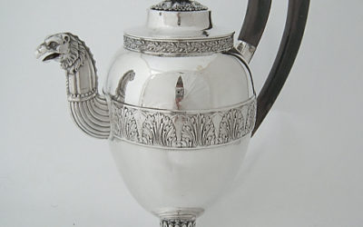 Herausragende Biedermeier Silber Kaffeekanne aus Ulm, 19. Jahrhundert