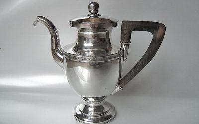 Zierliche Biedermeier Silber Mokkakanne aus Würzburg, 19. Jahrhundert