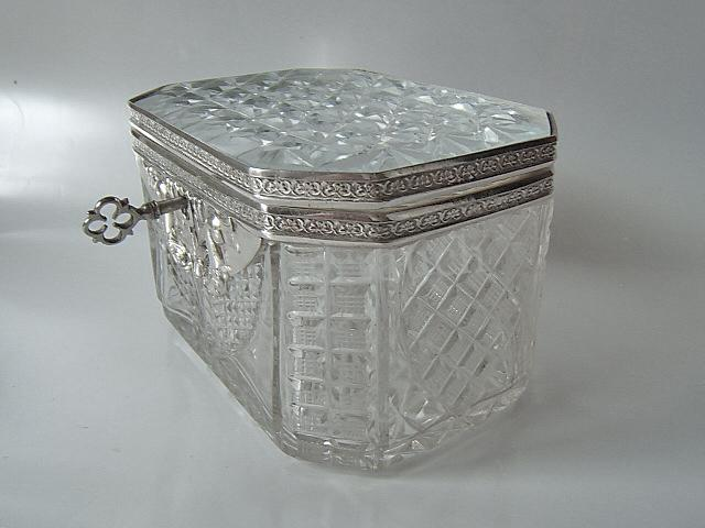 Wunderschöne Biedermeier Glas Zuckerdose mit Silbermontierung aus Hamburg, 19. Jahrhundert
